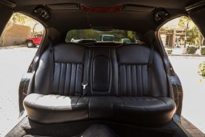 Rear seats of our stretch limousine