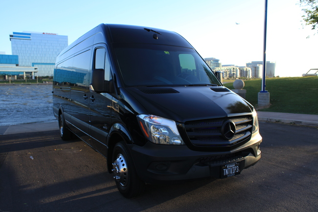 Mercedes Sprinter at Tempe Town Lake - just one of our Executive Limo Buses in Phoenix, AZ